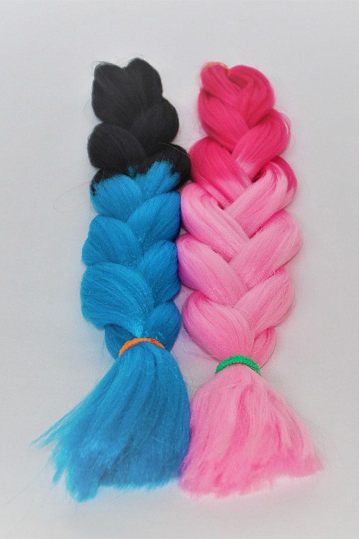 Fibra kanekalon de 2 colores